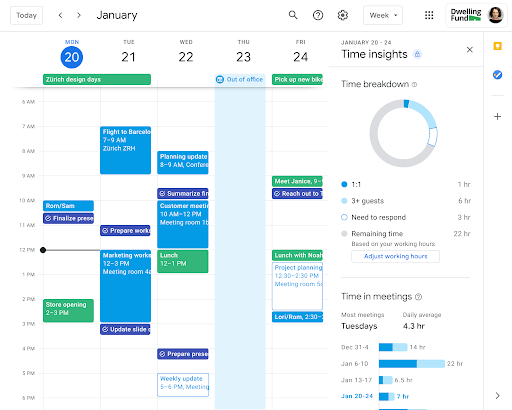 Google Workspace Time Insights